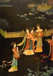 庭院的侍女线描画