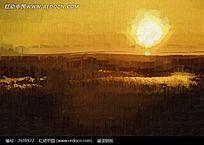 朝阳风景油画