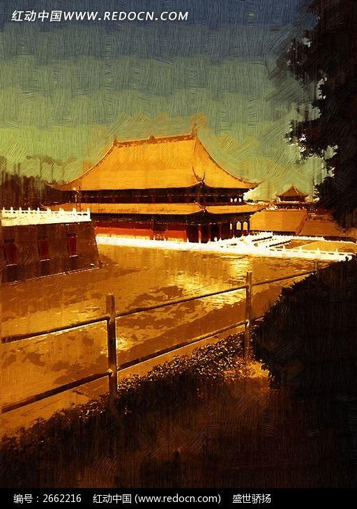 宫廷建筑油画图片