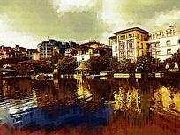 湖泊建筑油画