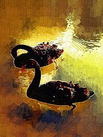 水中鹅油画