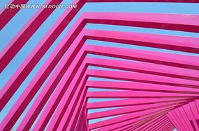 花博园的粉色钢结构建筑