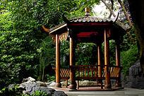 公园飞檐木凉亭