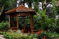 公园木凉亭