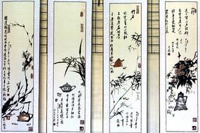 梅兰竹菊水墨画