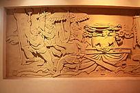 民间舞蹈鞭杆舞艺术沙雕墙面