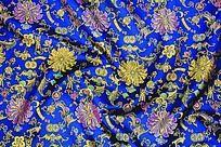 传统高贵花纹 传统吉祥花 蓝色绸布 传统吉祥图案   漂亮花纹
