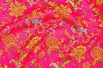 漂亮龙凤花纹  吉祥图案  传统花纹 高雅花纹  红色绸布