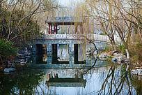 济南大明湖内小桥和倒影