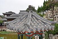 十笏园园林景观之凉亭屋顶