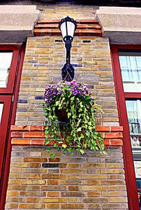 两窗之间的灯与绿植