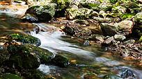 峡谷溪流中的翠池