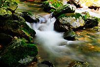 峡谷溪流中的水幕与苔藓
