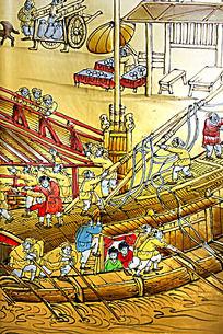 古代划船装饰画