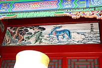 古建筑上彩绘的龙马祥云图案画