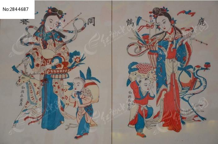 潍坊博物馆民俗文化馆馆藏书画之鹿鹤同春