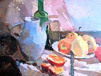 水粉画强烈光线下的水果静物