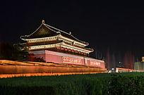 天安门夜景图带喷泉