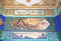 古建筑上彩绘的伏羲文化和中式传统图案花纹