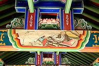 古建筑上彩绘的谋董贼孟德献刀场景图片