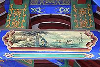 古建筑上彩绘的秦赢的崛起场景和中式传统图案花纹