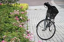 花丛中的自行车
