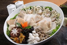 火锅涮菜香菇金针菇菌类拼盘