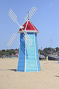 海滩婚庆婚纱照布景专用蓝色风车