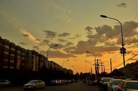 类油画落日下的城市