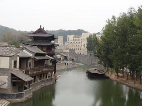 水乡风景河流房子