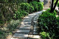 公园里蜿蜒的石头小路