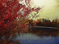 湖泊风景油画
