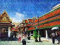泰国建筑风景画
