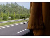 大巴车窗的玻璃和黄色的帘子