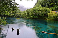 九寨沟里反光的蓝色湖泊