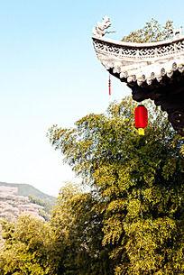 歙县卖花渔村红灯笼与竹林