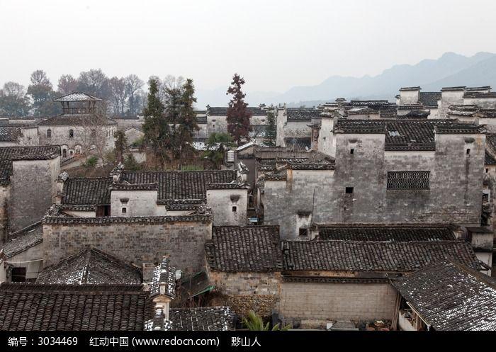 黟县南屏村落的建筑风情图片