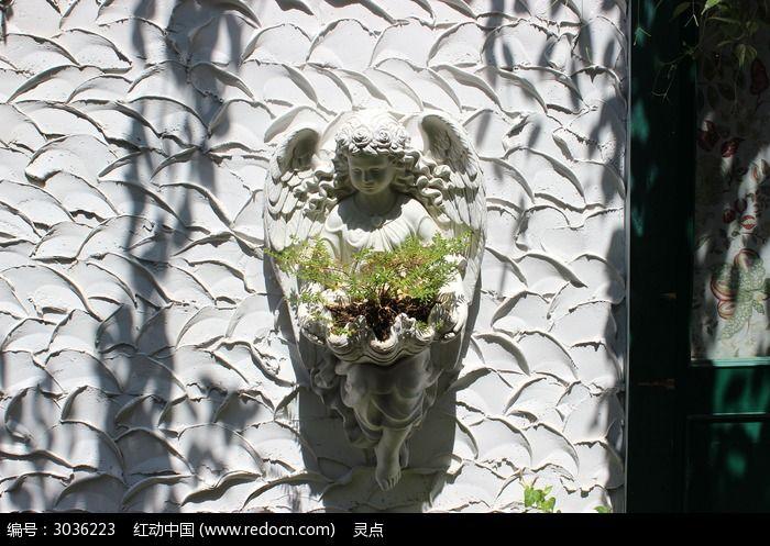 小天使  花盆   纹理墙壁图片