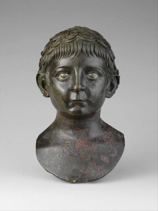 青铜小孩人物雕像头像图片