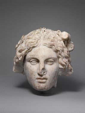 外国卷发美人头石雕人物雕刻艺术