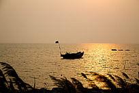 金色海面的渔船与飘逸的岸边芦苇