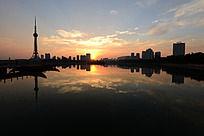 龙源湖的落日风光