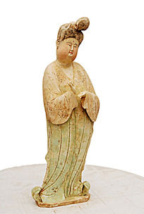 唐三彩仕女陶俑人物雕像