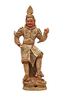 唐三彩天王陶俑人物雕像