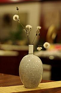 冰裂纹陶瓷花瓶里的蒲公英