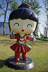 侗族小女孩卡通人物