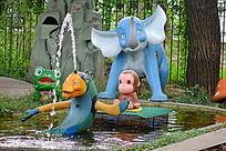 儿童乐园里的大象青蛙猴子飞鱼喷泉