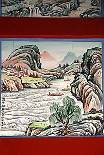 古建筑上彩绘的水墨山水画