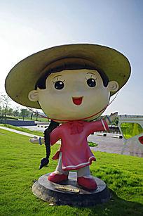 京族女孩卡通造型玩偶