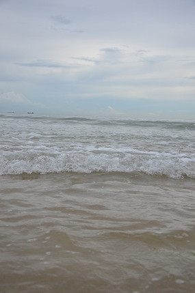 南澳西冲海滩日落涨潮